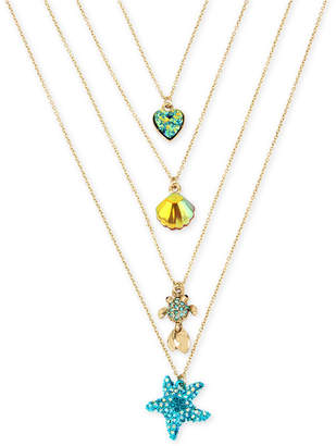"Betsey Johnson Gold-Tone 4-Pc. Set Multi-Stone Sealife Pendant Necklaces, 15-1/2"" + 3"" extender"