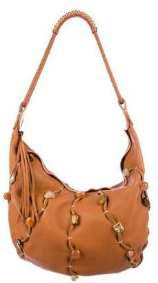 Carlos Falchi Embellished Leather Hobo