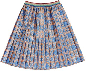 Gucci All Over Logo Pleated Lurex Blend Skirt