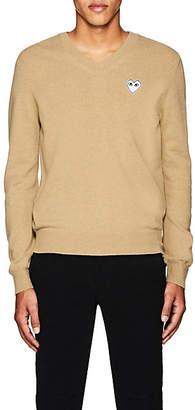 Comme des Garcons Men's Heart Wool V-Neck Sweater - Camel