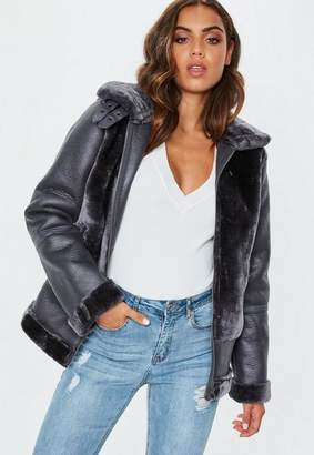Missguided Grey Faux Fur Ultimate Aviator Jacket