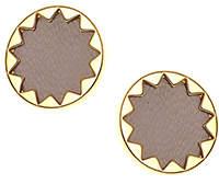 House Of Harlow Sunburst Button Earrings Khaki