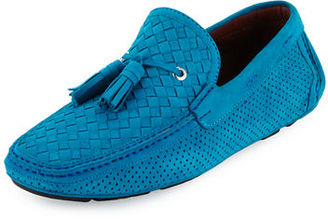 Magnanni for Neiman Marcus Woven & Perforated Suede Tassel Driver $395 thestylecure.com
