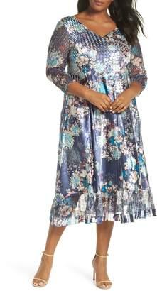 Komarov Print Charmeuse & Chiffon A-Line Dress