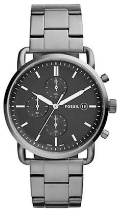 Fossil Chronograph The Commuter Smoke Stainless Steel Bracelet Watch