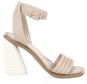 Mercedes Benz Castillo Leather Tonal Banana Heel Ankle-Strap Sandals