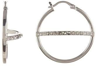Judith Jack Sterling Silver Pave CZ Cross Bar Hoop Earrings