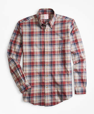 Brooks Brothers Madison Fit Camel Plaid Flannel Sport Shirt