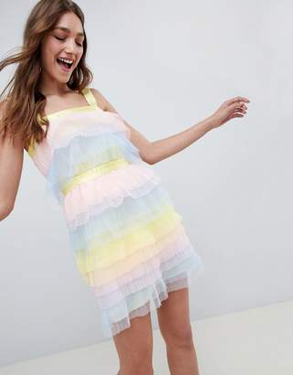 Asos DESIGN Tiered Mini Dress In Pastel Color Block Tulle