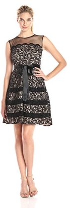 Betsy & Adam Women's Lace Fit and Flare Party Dress with Belt $64.57 thestylecure.com