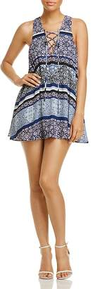 Olivaceous Lace-Up Printed Dress $68 thestylecure.com