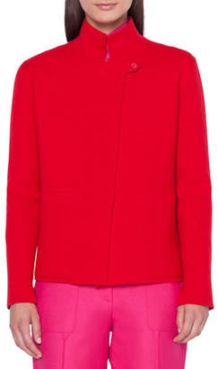 Akris Cashmere Reversible Mock-Neck Cardigan