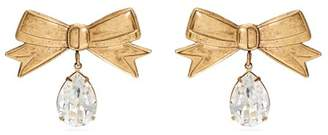 Rodarte Crystal Embellished Bow Earrings - Womens - Gold