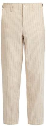 Etro Striped Linen Elasticated Waist Trousers - Mens - Beige