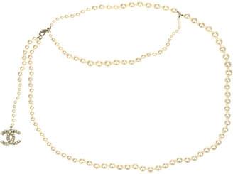 Chanel Gold & Faux Pearl 14A Cc Logo Belt, Size 33