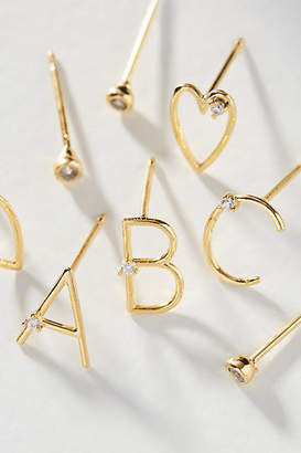 Anthropologie Holiday Cheers Monogram Post Earring Set
