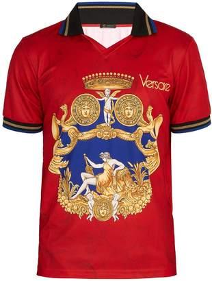 Versace Printed jersey polo shirt