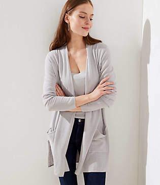 LOFT Linen Blend Pocket Duster Sweater