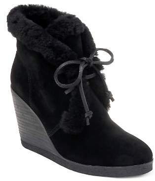 Splendid Women's Catalina Suede & Shearling Lace Up Wedge Booties