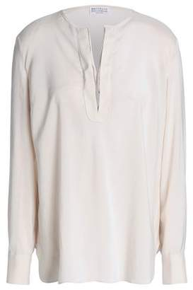 Brunello Cucinelli Bead-Embellished Stretch-Silk Top