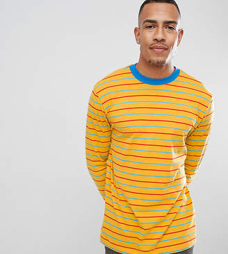 Asos Design DESIGN Tall relaxed long sleeve t-shirt with retro colour stripe