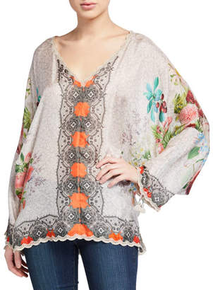 Johnny Was October V-Neck Cinch Sleeve Silk Top