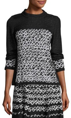 NIC+ZOE Long-Sleeve Geo Chic Top $148 thestylecure.com
