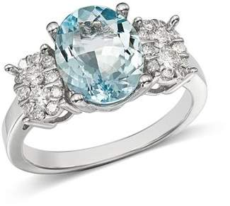 Bloomingdale's Aquamarine Oval & Diamond Cluster Ring in 14K White Gold - 100% Exclusive