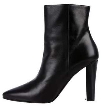 Saint Laurent Leather Almond-Toe Booties