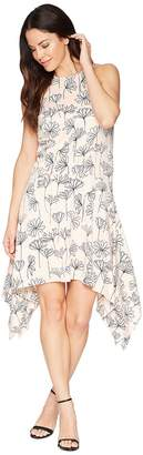 Maggy London Stick Flower Satin Seersucker Hanky Hem Trapeze Dress Women's Dress