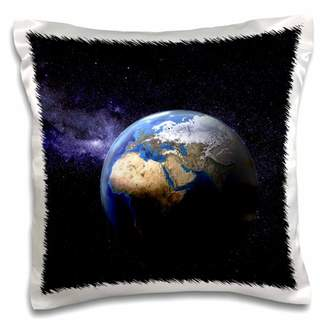 Planet Earth 3dRose in space with many stars - Pillow Case, 16 by 16-inch