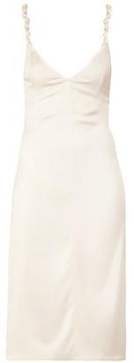 Bottega Veneta Knotted Strap Satin Pencil Dress - Womens - Ivory
