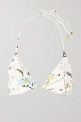 Tory Burch Gemini Link Printed Triangle Bikini Top - Ivory