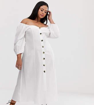 92d8d6505f Asos DESIGN Curve button through maxi dress in seersucker