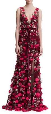 Marchesa 3D Floral Floor-Length Gown