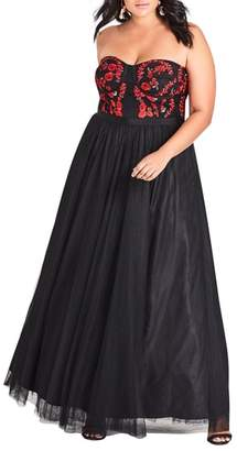 City Chic Dolce Strapless Maxi Dress