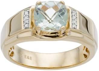 Men's 10k Gold Green Quartz & Diamond Accent Ring