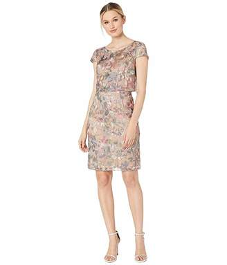 Adrianna Papell Metallic Embroidered Popover Dress