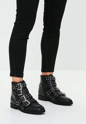 Missguided Black Studded Four Buckle Strap Ankle Boot