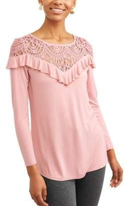 Time and Tru Women's Long Sleeve Ruffle Lace Top