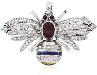 18K White Gold Ruby, Sapphire, Citrine & Diamond Bee Pin Brooch