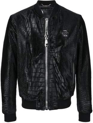 Philipp Plein croc-effect bomber jacket