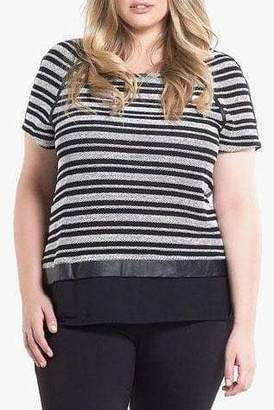 Tart Collections Nina Top in Black/White Stripe Size 1X Leather
