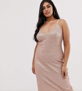 Club L London Plus sequin cami midi dress in pink