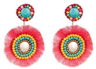 Panacea Beaded Accent Fringe Drop Earrings