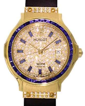 "Hublot Classic Elegance"" 18K Yellow Gold Blue Sapphire & Diamond Pavé Strap Watch"