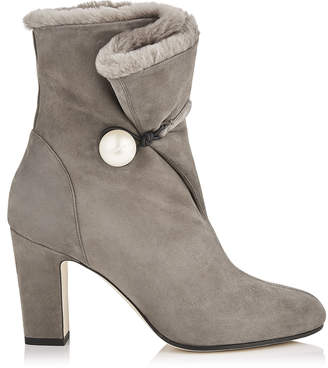 Jimmy Choo BETHANIE 85 Dark Grey Suede Leather Booties with Shearling Lining