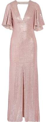 Temperley London Stardust Open-Back Sequin-Embellished Chiffon Gown