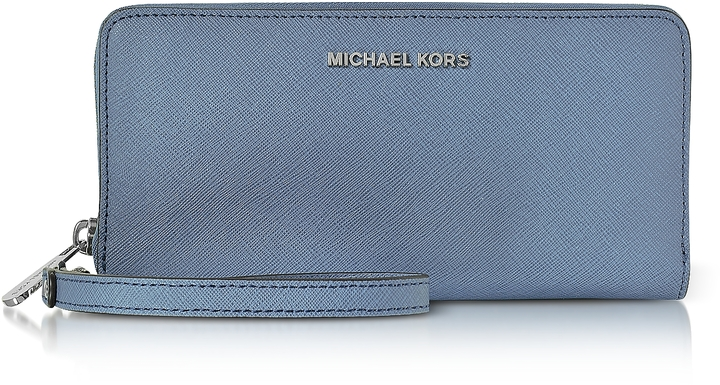 MICHAEL Michael KorsMichael Kors Jet Set Travel Large Denim Continental Wristlet Leather Wallet