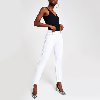 River Island Womens White Mom distressed jeans